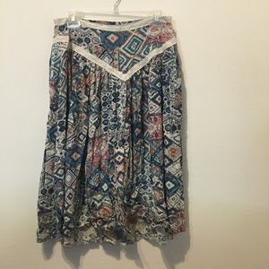 Tobi Geometric & Boho Midi Skirt